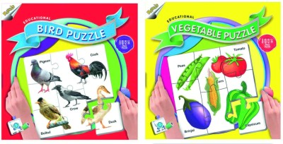 Ratnas Pack Of 2 -Educational Vegetable And Bird Puzzle