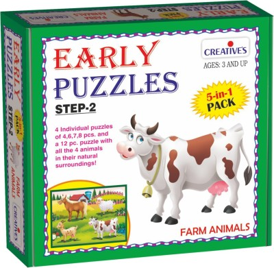 Creative's Early Puzzles Step 2 – Farm Animals (5 in 1 puzzles for ages 3 & above)