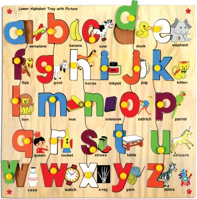 Skillofun Lower Alphabet Tray With Picture (With Knobs)