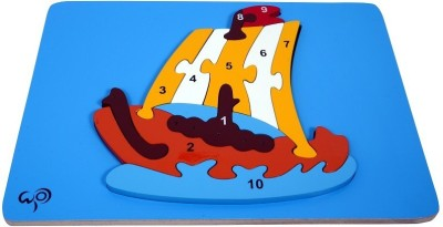 wood o plast Boat Raised Puzzle With 1-10 Numbers