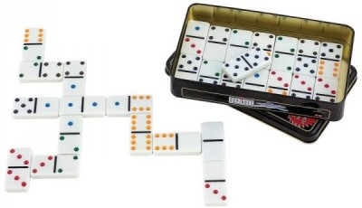 ES-KO Dominoes Premium Set Of 28 Double Six Color Dot With Metal Tin Case - For Family, Fun, Kids, Adults
