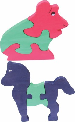 Enigmatic Woodworks Wooden Jigsaw Puzzle Frog + Horse