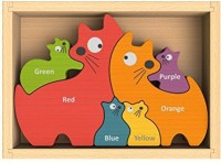 Beginagain Cat Family Puzzle With Curriculum Puzzle Game For Playing, Stenciling, And As A Bilingual Learning Tool! Great Educational Toy For Toddlers