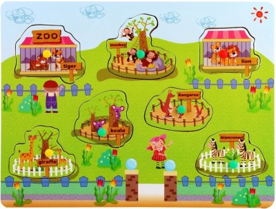 Pigloo Wooden Knob Peg Puzzle - Zoo Theme