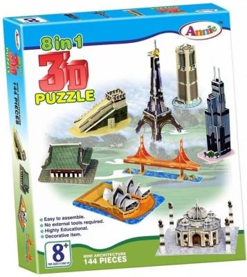 Annie 8 in 1 3D Puzzle Mini Architecture Model(Multicolor)