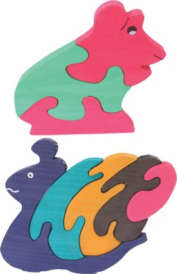 Enigmatic Woodworks Wooden Jigsaw Puzzle Frog + Pony Snail