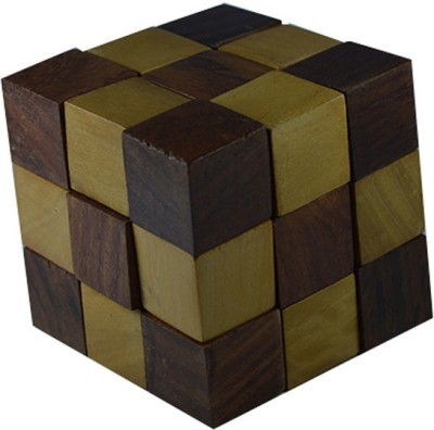 Craftuno Handcrafted Wooden Snake Cube Puzzle