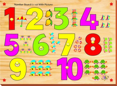 Kinder Creative Number Board with Picture with Knobs