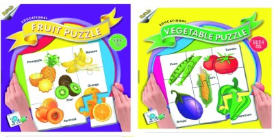 Ratnas Pack Of 2 -Educatinal Fruit And Vegetable Puzzle