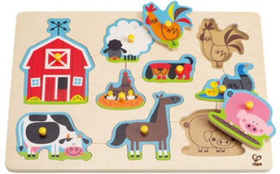 Hape Hape-Farm Animals Peg Puzzle