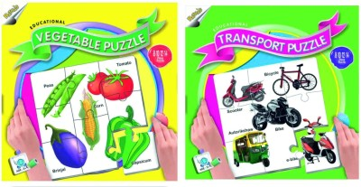 Ratnas Pack Of 2 - Educational Transport And Vegetable Puzzle
