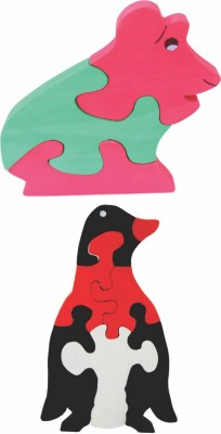 Enigmatic Woodworks Wooden Jigsaw Puzzle Frog + Penguin