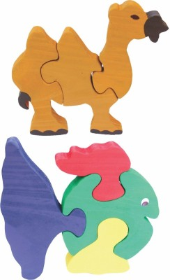 Enigmatic Woodworks Wooden Jigsaw Puzzle Camel + Curvy Fish