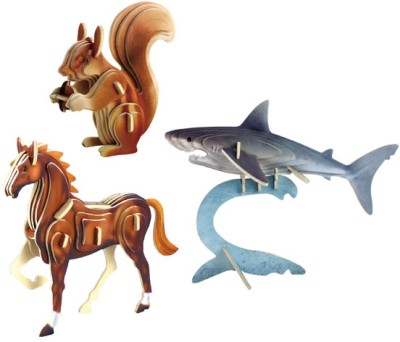 Robotime Color Animals - Pack of 3 (Squirrel::Horse::Shark)