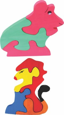 Enigmatic Woodworks Wooden Jigsaw Puzzle Frog + Lion