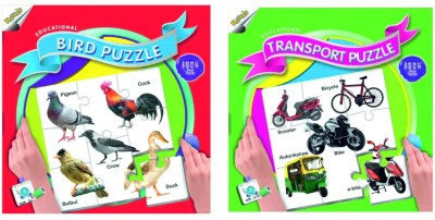 Ratnas Pack Of 2 - Educational Transport And Bird Puzzle