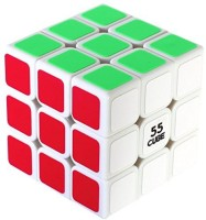 """55Cube Anti Pop Speed Cube, Quicker, Easier & More Precisely Than Original Puzzle Cube, Super Durable, Vivid Color 3X3, 3 Layer Speed Cube 2.2"""" White,"""
