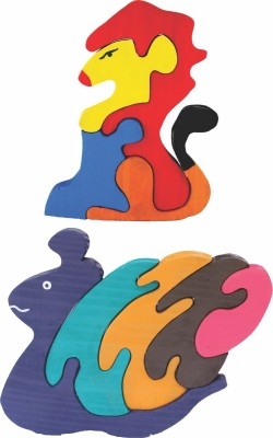Enigmatic Woodworks Wooden Jigsaw Puzzle Lion + Pony Snail