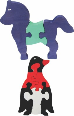 Enigmatic Woodworks Wooden Jigsaw Puzzle Horse + Penguin