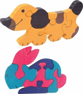 Enigmatic Woodworks Wooden Jigsaw Puzzle Dog + Rabbit