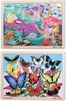 Melissa & Doug Puzzle Bundle contains Mermaids and Butterflies