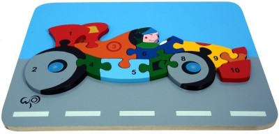 wood o plast Racing Car Raised Puzzle With 1-10 Numbers