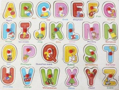 Littlegrin English Captial Alphabets and Words Wooden Puzzle With Pegs