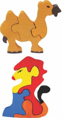 Enigmatic Woodworks Wooden Jigsaw Puzzle Camel + Lion