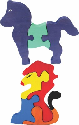 Enigmatic Woodworks Wooden Jigsaw Puzzle Horse + Lion