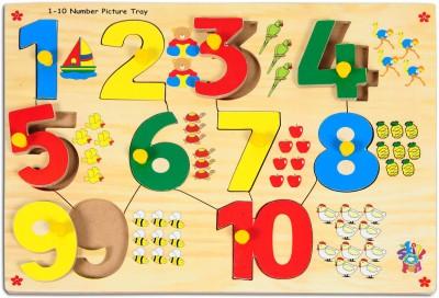 Skillofun Skillofun Number With Picture Tray (1-10) (With Knobs)