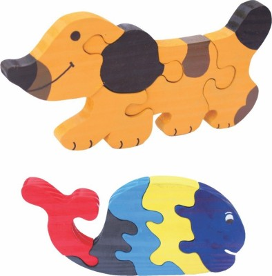 Enigmatic Woodworks Wooden Jigsaw Puzzle Dog + Whale
