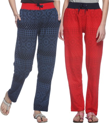 69GAL Printed Women's Red, Dark Blue Track Pants at flipkart