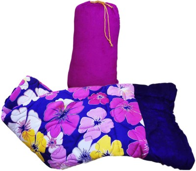 GS Museum Flower designed blue quilt Cotton, Poly Blend, Bamboo, Cotton Blend, Silk Batting