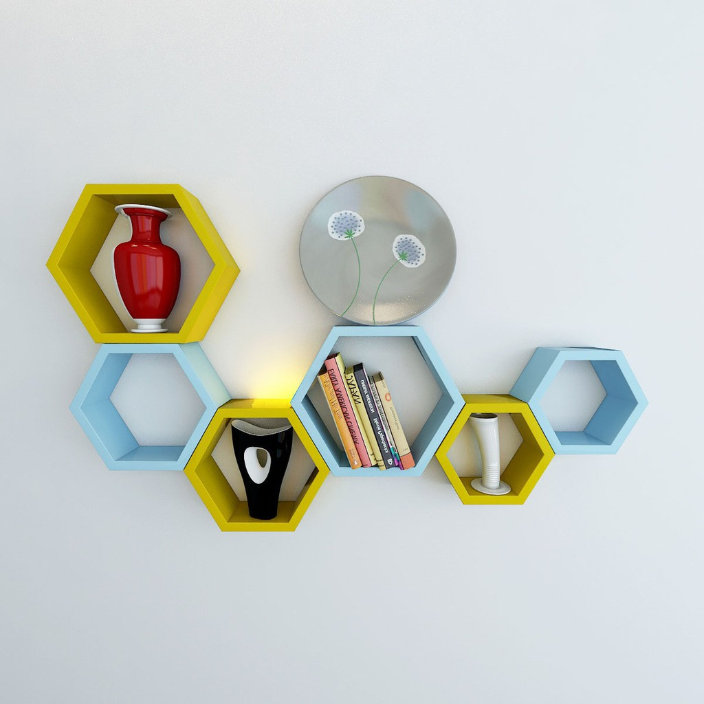 View DecorNation Hexagon Shape MDF Wall Shelf(Number of Shelves - 6, Yellow, Blue) Furniture (DecorNation)