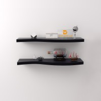 DriftingWood Floating Shelves Wooden Wall Shelf(Number of Shelves - 2, Black)