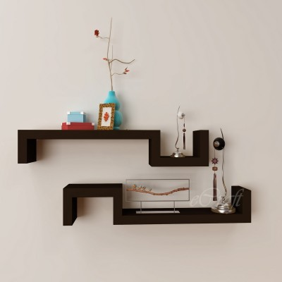 eCraftIndia Set of 2 Decorative Multiutility Floating Wooden Wall Shelf