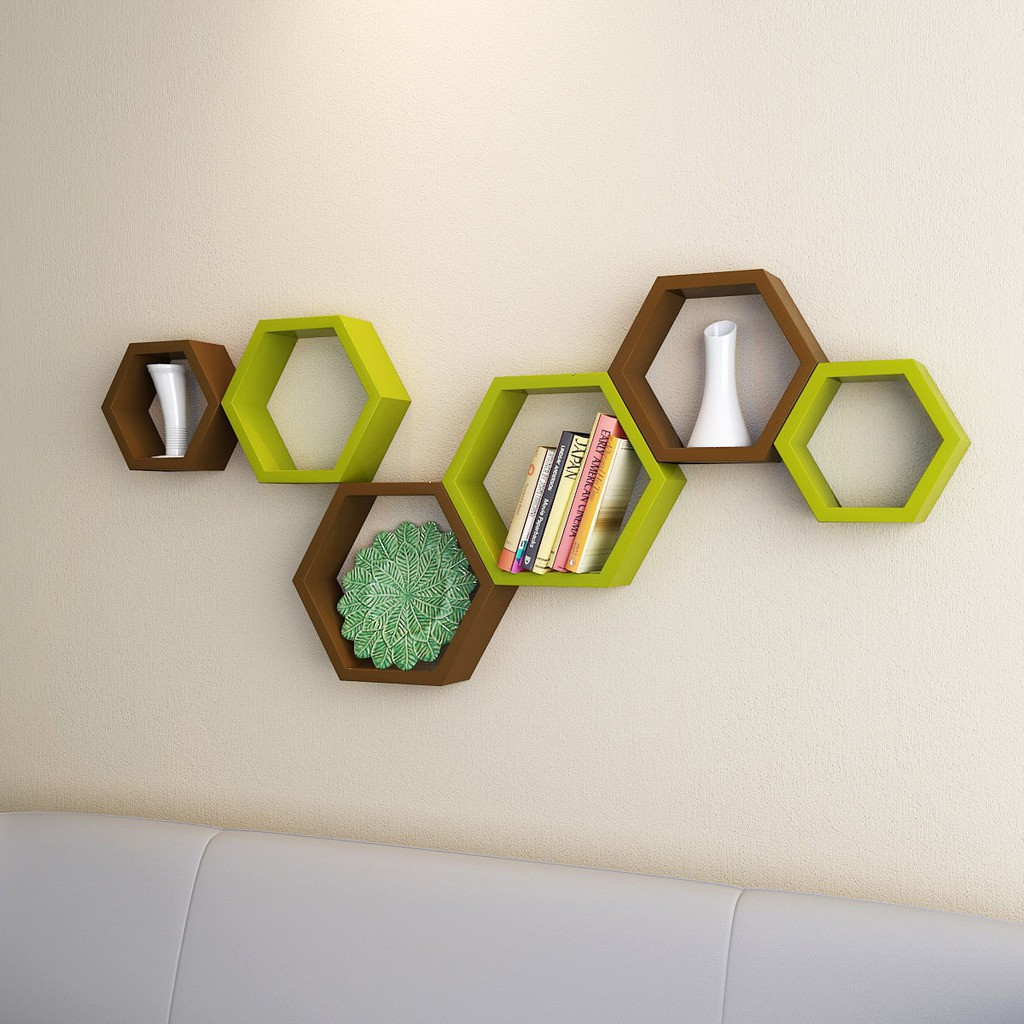 View DecorNation Hexagon Shape MDF Wall Shelf(Number of Shelves - 6, Brown, Green) Furniture (DecorNation)