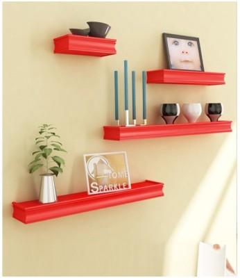 Onlineshoppee Beautiful Wooden Red Rectangular Wooden Wall Shelf Wooden Wall Shelf