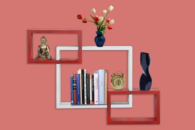 Furniselan interlocking Red & White MDF Wall Shelf