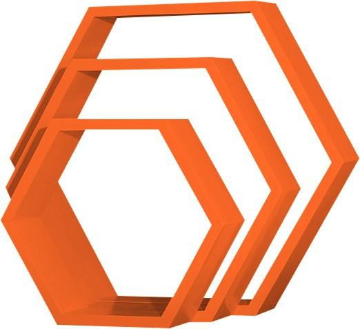 View Custom Decor Hexagon Wooden Wall Shelf(Number of Shelves - 3, Orange) Furniture (Custom Decor)