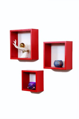 Importwala Red Cube wall Shelves-Set of 3 MDF Wall Shelf