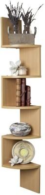 DecorNation Corner Zigzag - Bavarian Beech Wooden Wall Shelf(Number of Shelves - 5, Yellow)