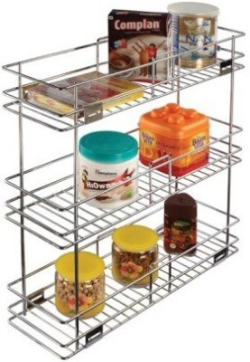 RBJ Multipurpose Pullout For Bathrooms Stainless Steel Wall Shelf