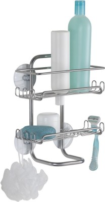 Interdesign Classico Suction Bathroom Shower Caddy Shelves for Shampoo, Conditioner, Soap, Razors - Silver Steel Wall Shelf