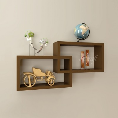 eCraftIndia Set of 2 Rectangular Intersected Wooden Wall Shelf