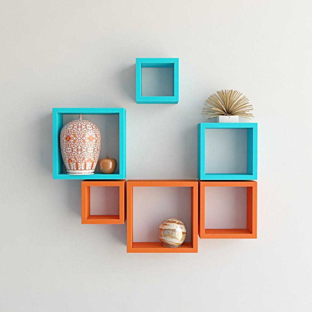 View Custom Decor Nesting Wooden Wall Shelf(Number of Shelves - 6, Multicolor) Furniture (Custom Decor)