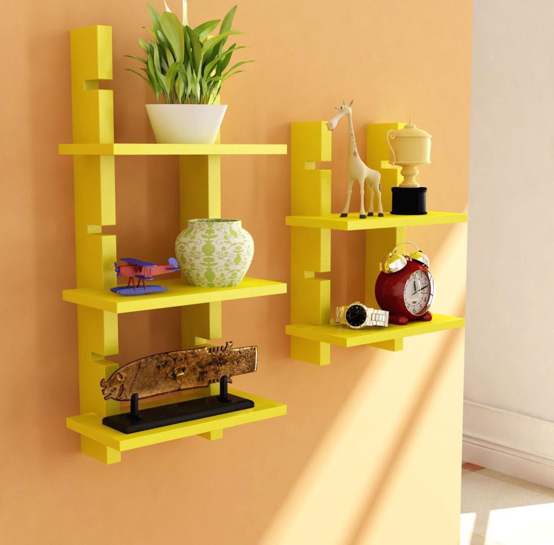 View Decorhand Wooden Wall Shelf(Number of Shelves - 5, Yellow) Furniture (Decorhand)