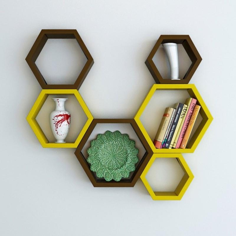 Wallz Art Hexagon Shape MDF Wall Shelf(Number of Shelves - 6, Yellow)