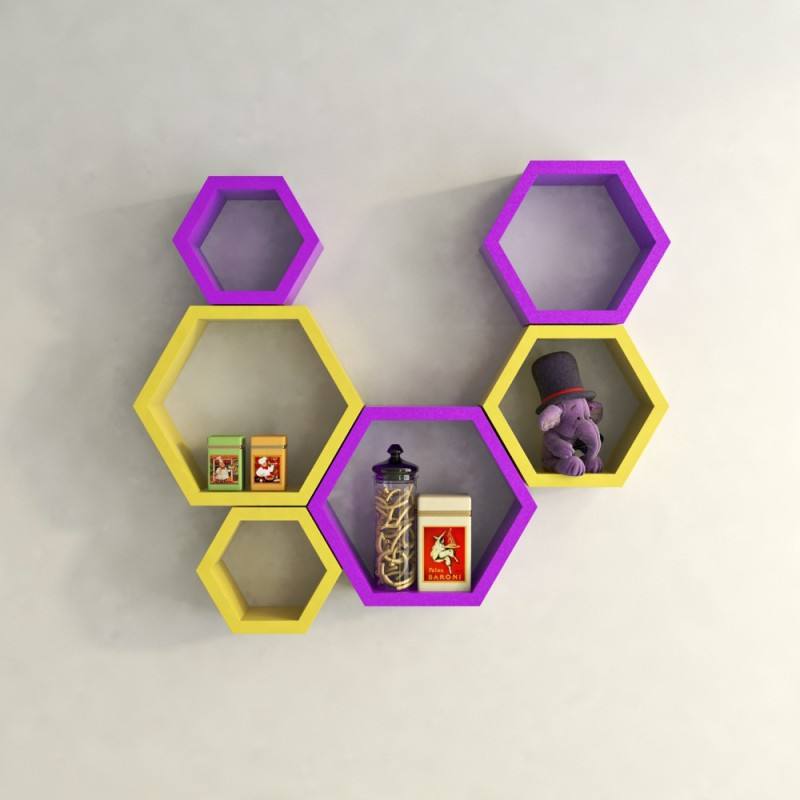 DecorNation Hexagon Shape MDF Wall Shelf(Number of Shelves - 6, Yellow, Purple)
