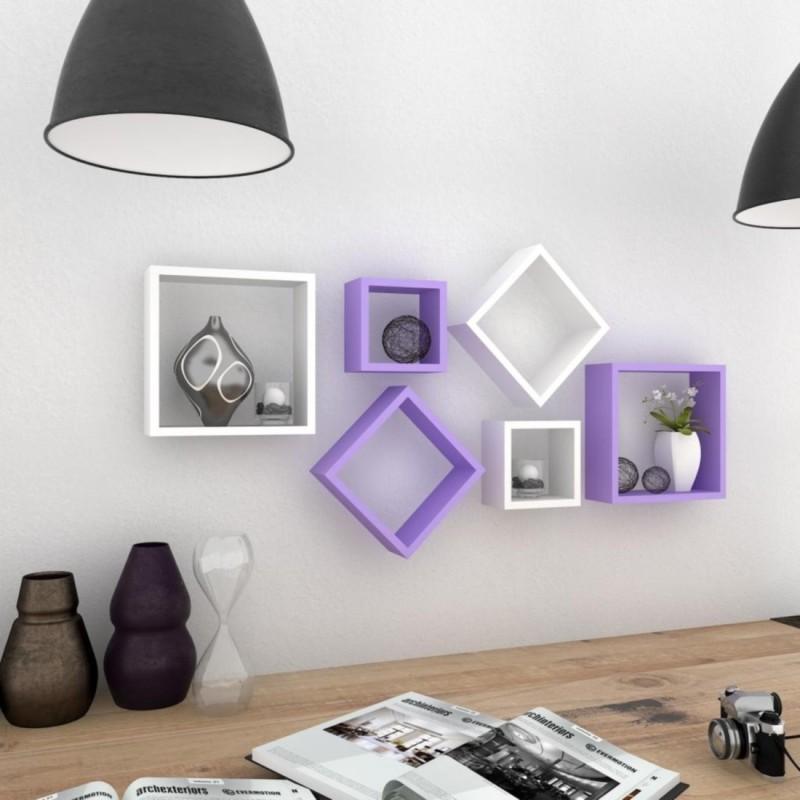 Wallz Art Square MDF Wall Shelf(Number of Shelves - 6, Purple)